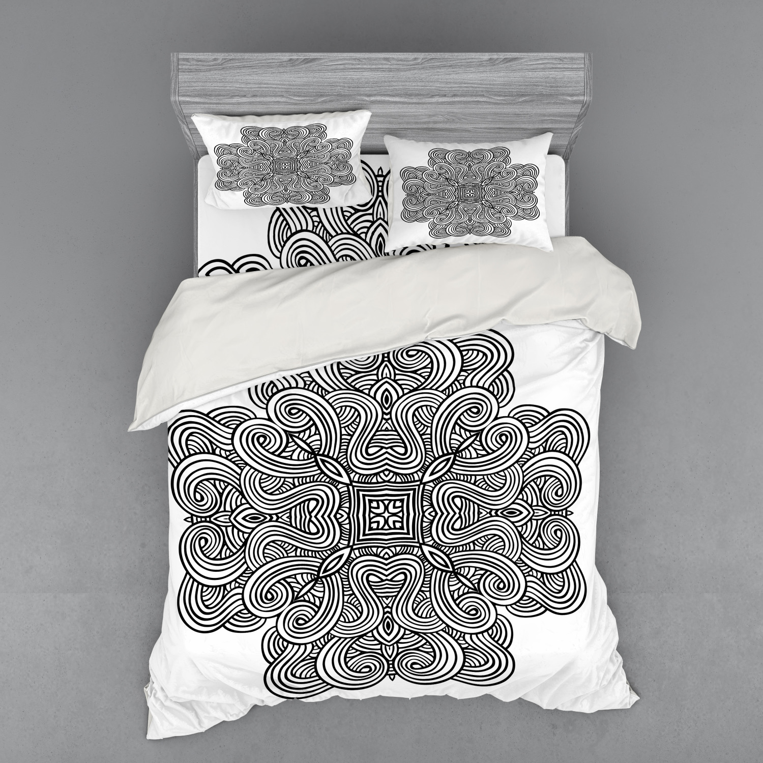 thumbnail 50 - Ambesonne Black White Art Bedding Set Duvet Cover Sham Fitted Sheet in 3 Sizes