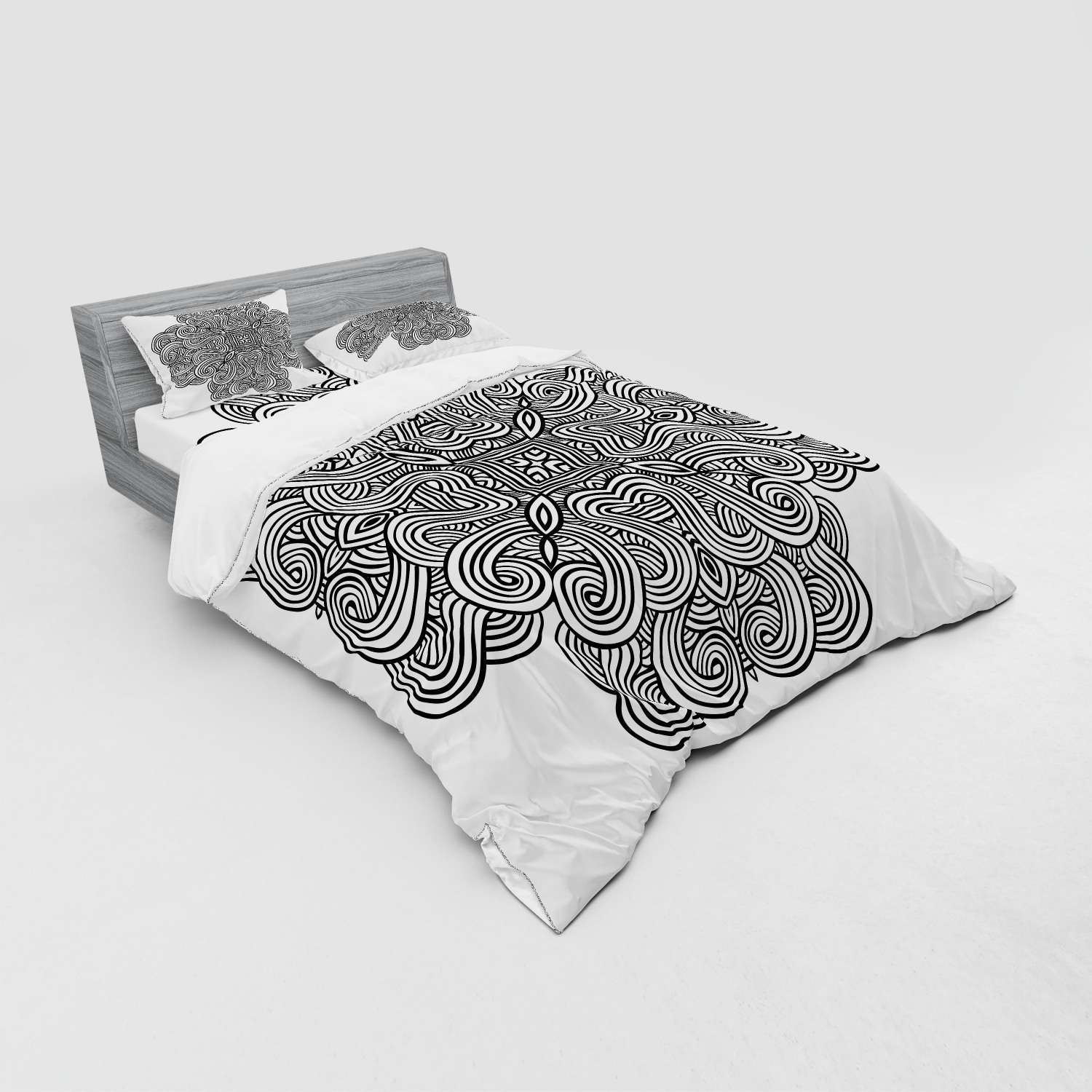 thumbnail 51 - Ambesonne Black White Art Bedding Set Duvet Cover Sham Fitted Sheet in 3 Sizes