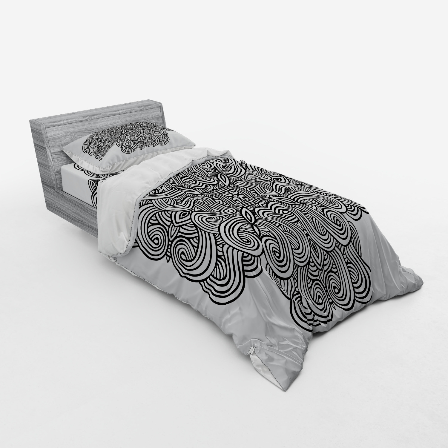 thumbnail 49 - Ambesonne Black White Art Bedding Set Duvet Cover Sham Fitted Sheet in 3 Sizes