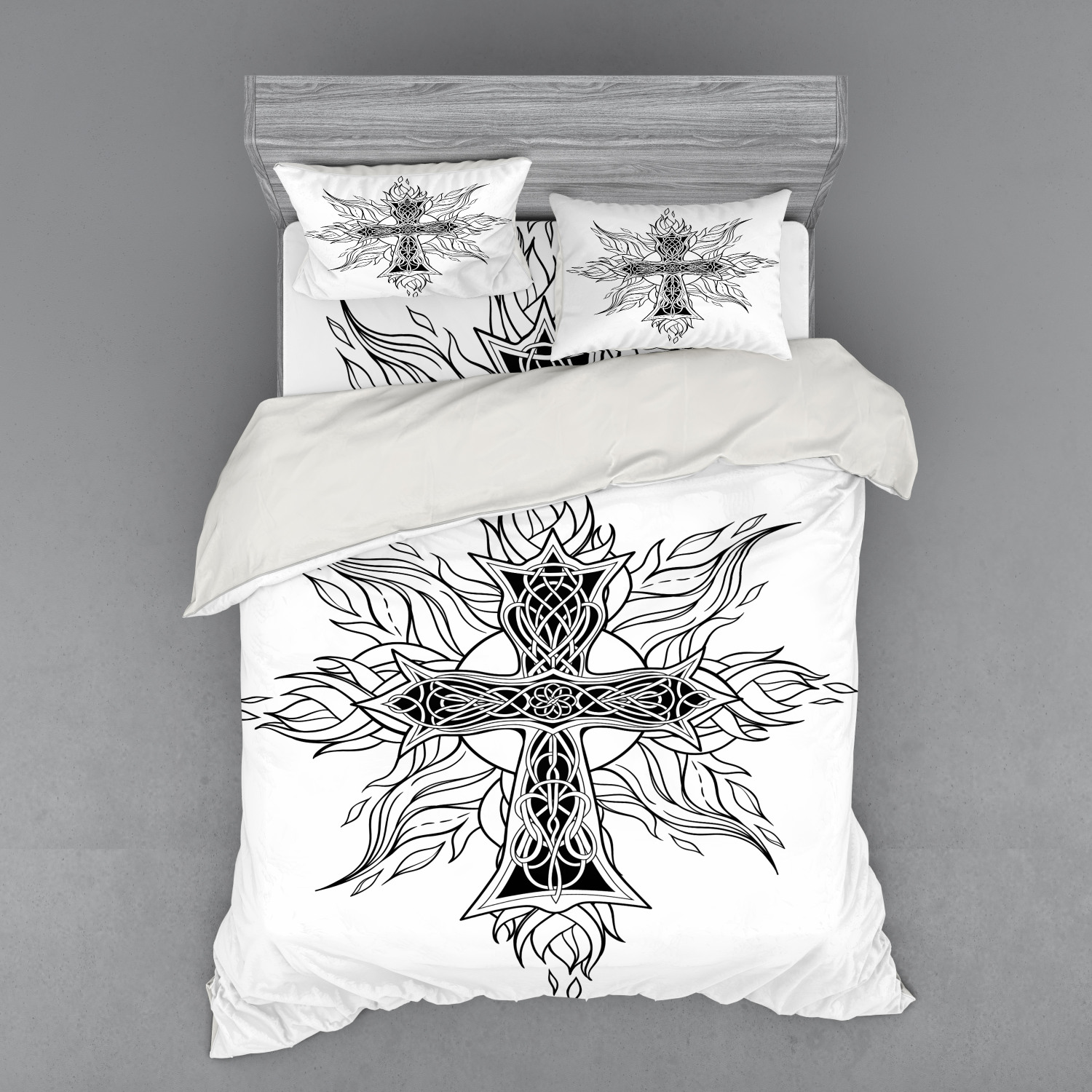 thumbnail 110 - Ambesonne Black White Art Bedding Set Duvet Cover Sham Fitted Sheet in 3 Sizes