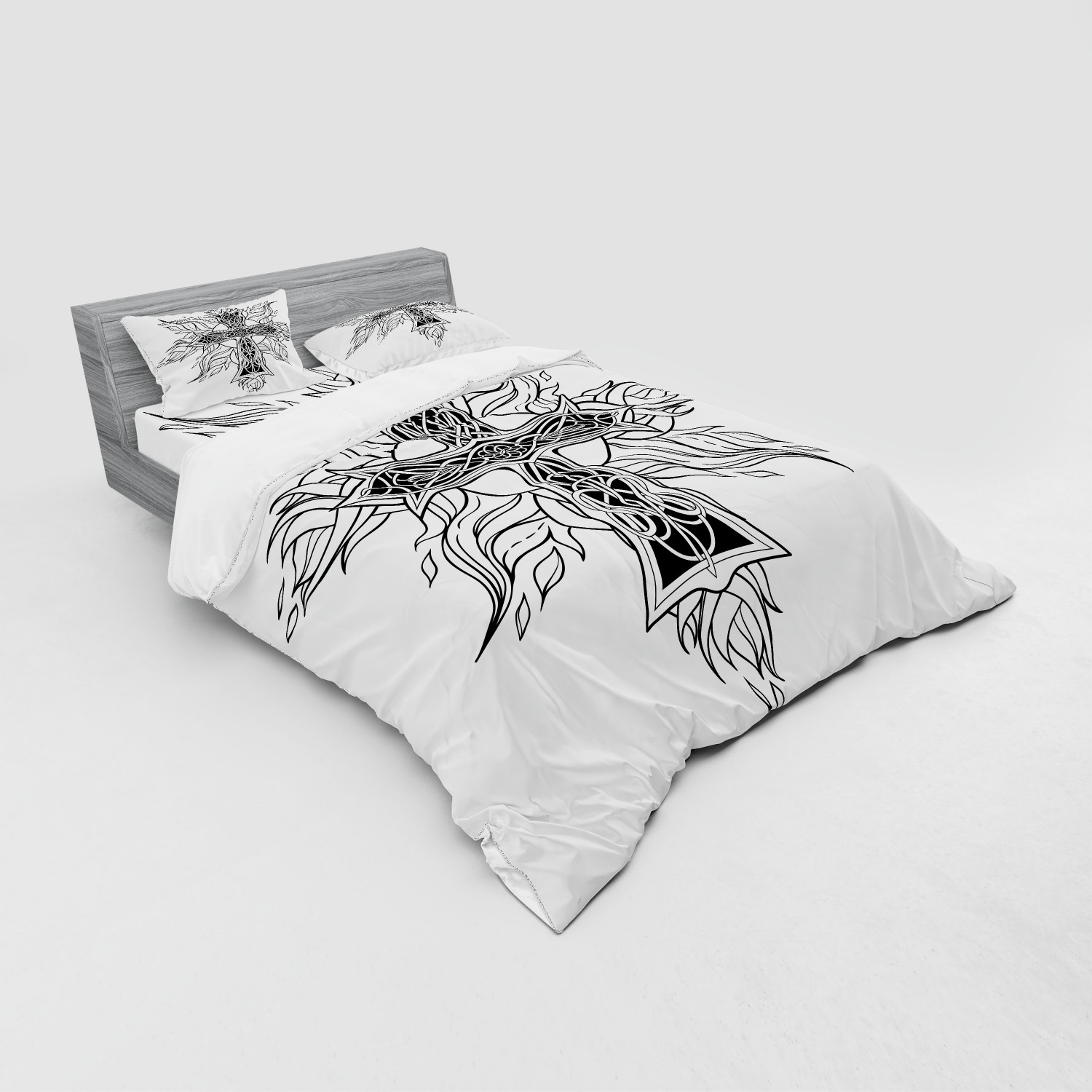 thumbnail 111 - Ambesonne Black White Art Bedding Set Duvet Cover Sham Fitted Sheet in 3 Sizes