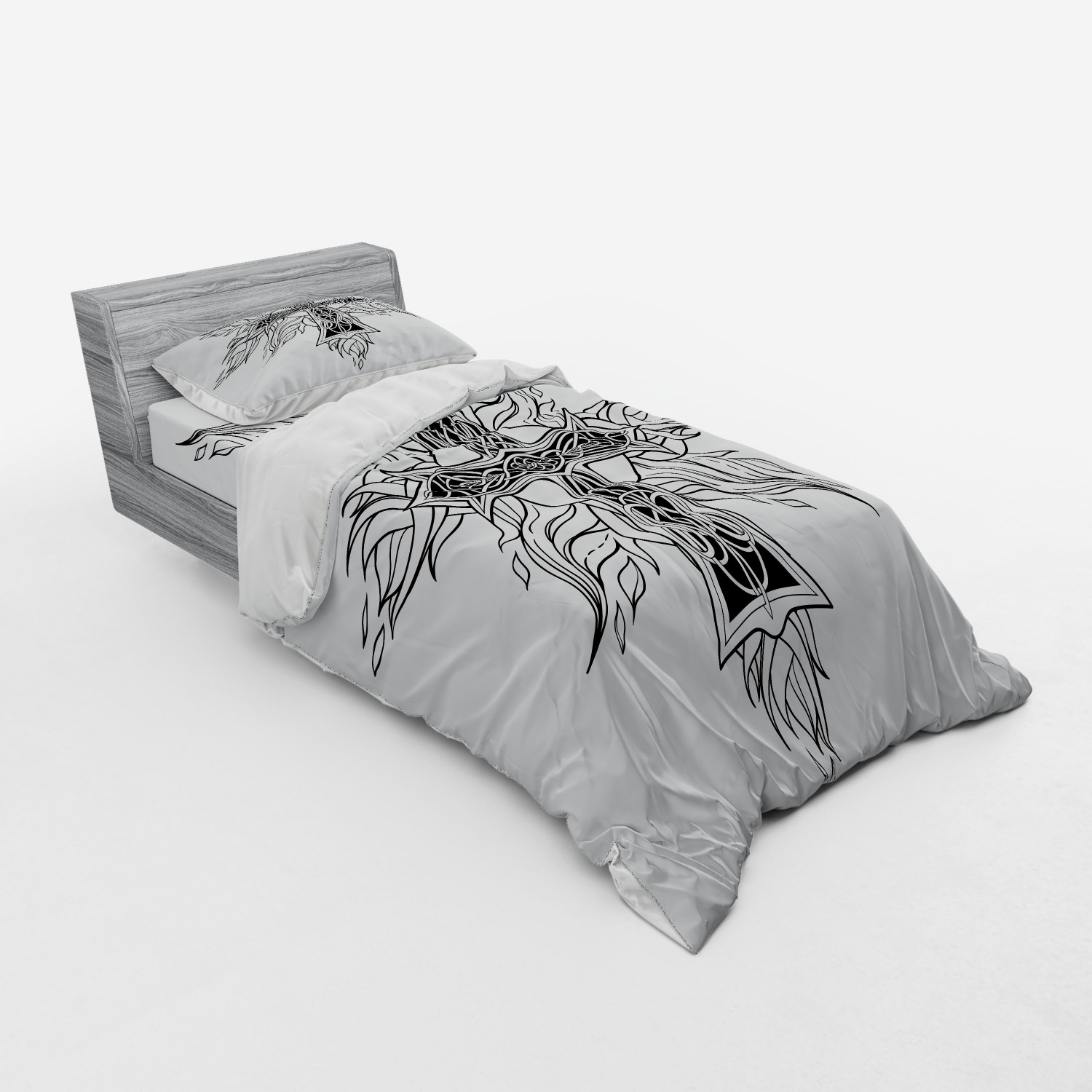 thumbnail 109 - Ambesonne Black White Art Bedding Set Duvet Cover Sham Fitted Sheet in 3 Sizes