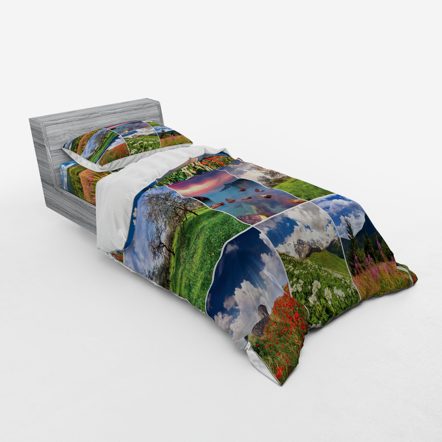 thumbnail 193 - Ambesonne Summer Bedding Set Duvet Cover Sham Fitted Sheet in 3 Sizes