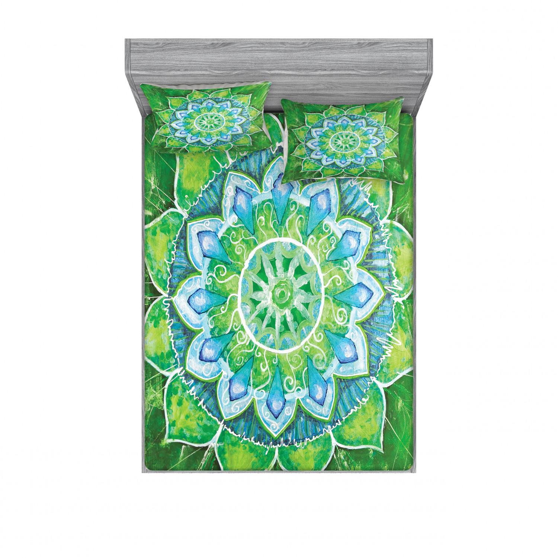 thumbnail 106 - Ambesonne-Mandala-Fitted-Sheet-Pillow-Sham-Set-Bedding-Decor-in-4-Sizes