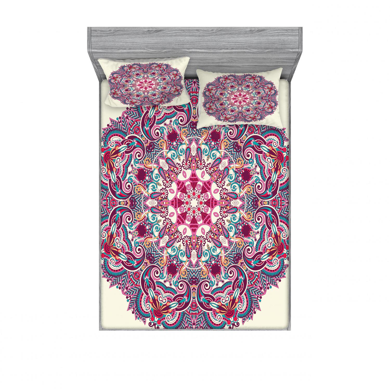 thumbnail 22 - Ambesonne-Mandala-Fitted-Sheet-Pillow-Sham-Set-Bedding-Decor-in-4-Sizes