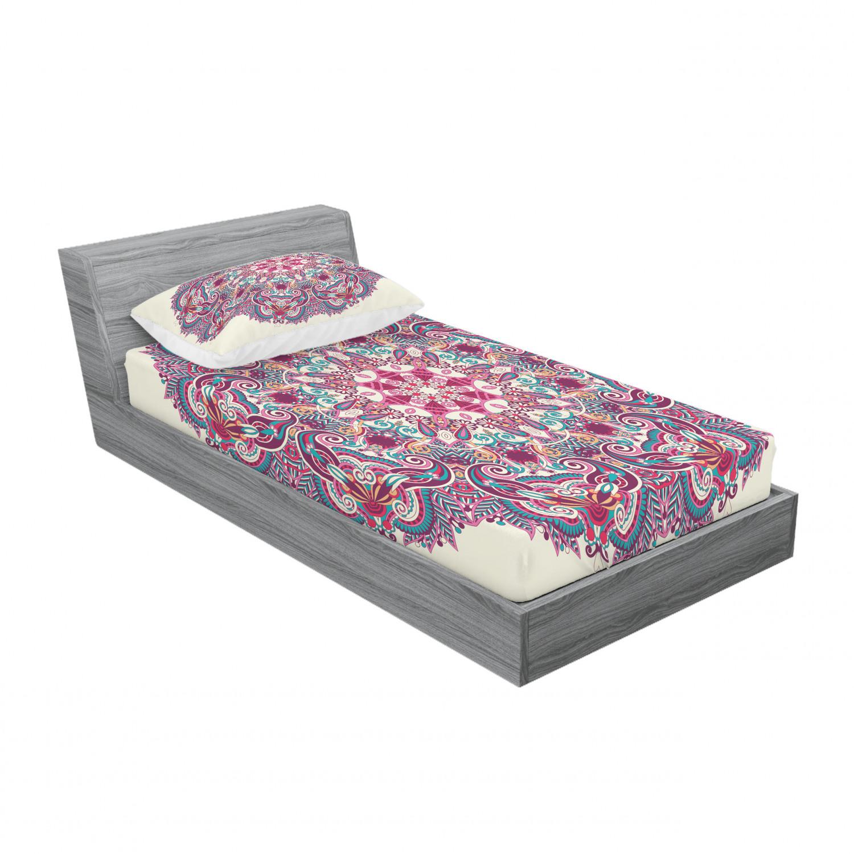 thumbnail 21 - Ambesonne-Mandala-Fitted-Sheet-Pillow-Sham-Set-Bedding-Decor-in-4-Sizes