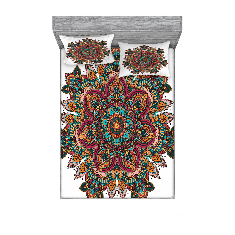 thumbnail 182 - Ambesonne-Mandala-Fitted-Sheet-Pillow-Sham-Set-Bedding-Decor-in-4-Sizes