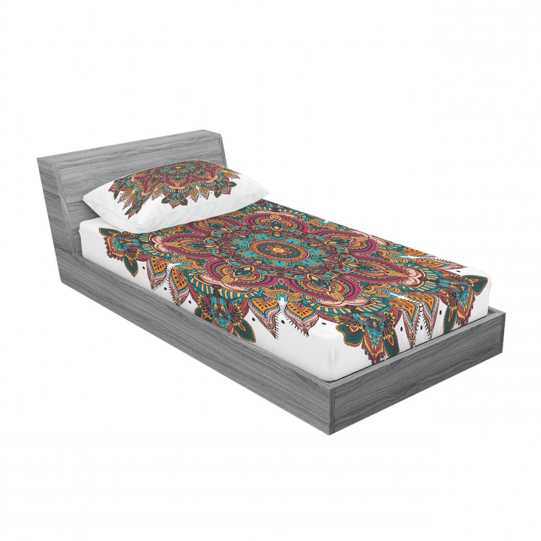 thumbnail 181 - Ambesonne-Mandala-Fitted-Sheet-Pillow-Sham-Set-Bedding-Decor-in-4-Sizes