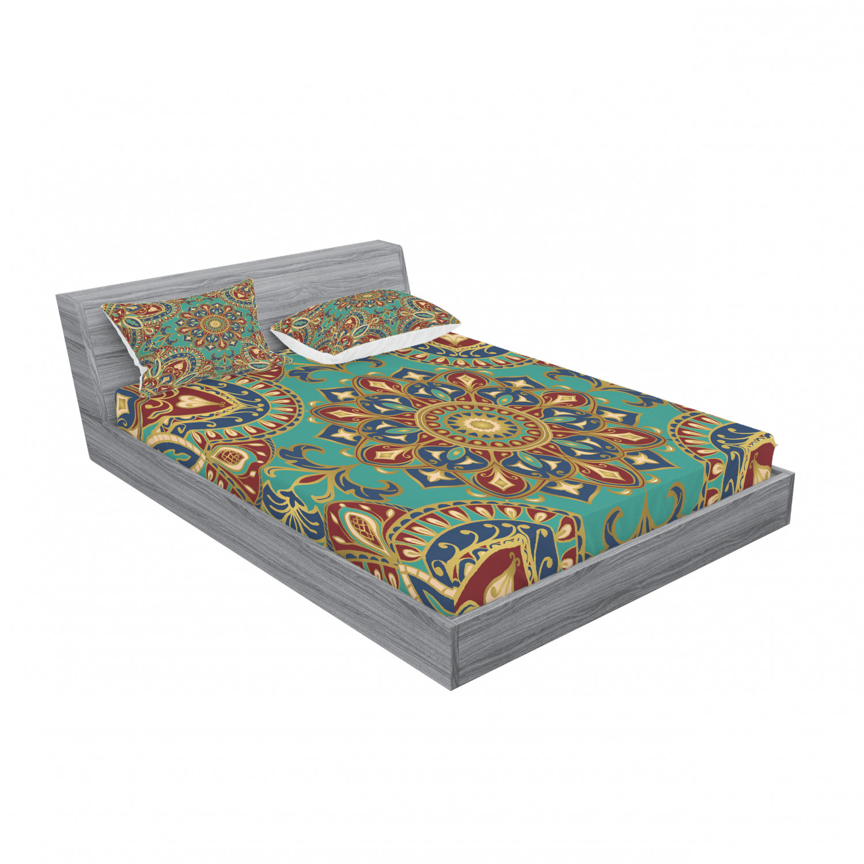 thumbnail 131 - Ambesonne-Mandala-Fitted-Sheet-Pillow-Sham-Set-Bedding-Decor-in-4-Sizes
