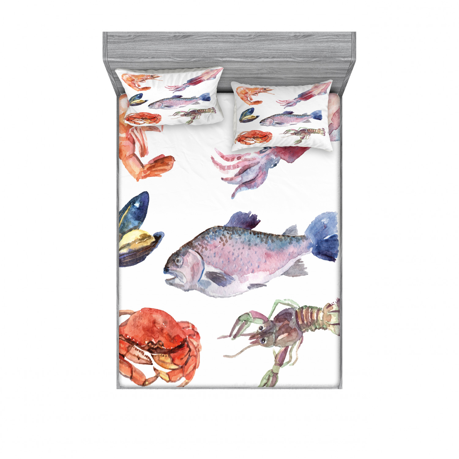 thumbnail 170 - Ambesonne Fish Fitted Sheet Pillow Sham Set Bedding Decor in 4 Sizes