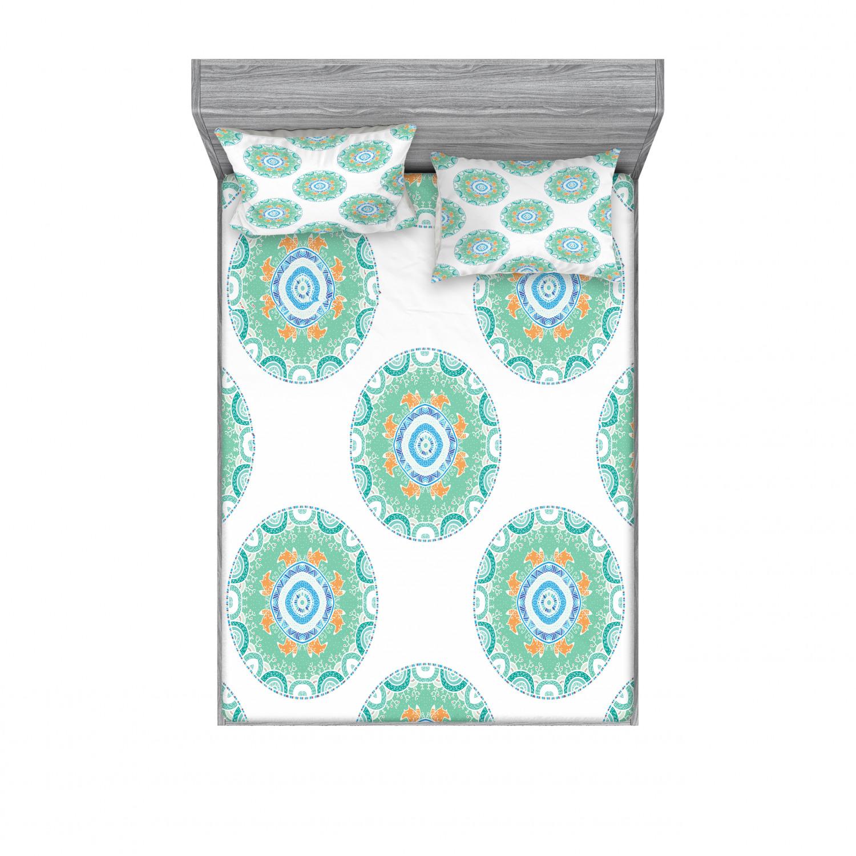 thumbnail 86 - Ambesonne-Mandala-Fitted-Sheet-Pillow-Sham-Set-Bedding-Decor-in-4-Sizes