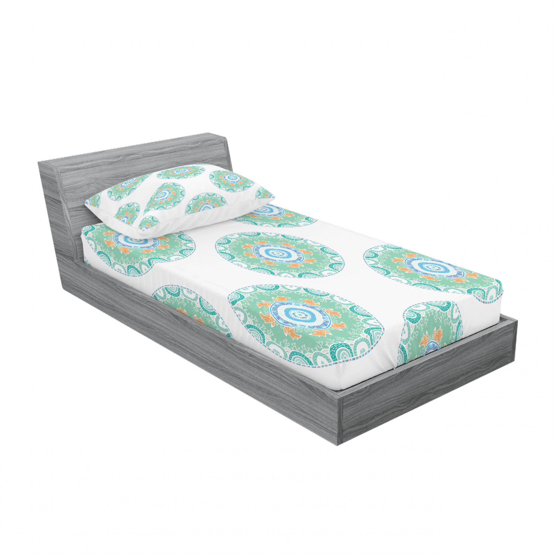thumbnail 85 - Ambesonne-Mandala-Fitted-Sheet-Pillow-Sham-Set-Bedding-Decor-in-4-Sizes