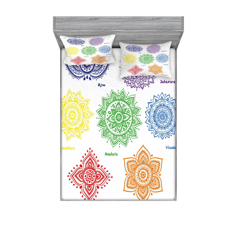 thumbnail 34 - Ambesonne-Mandala-Fitted-Sheet-Pillow-Sham-Set-Bedding-Decor-in-4-Sizes