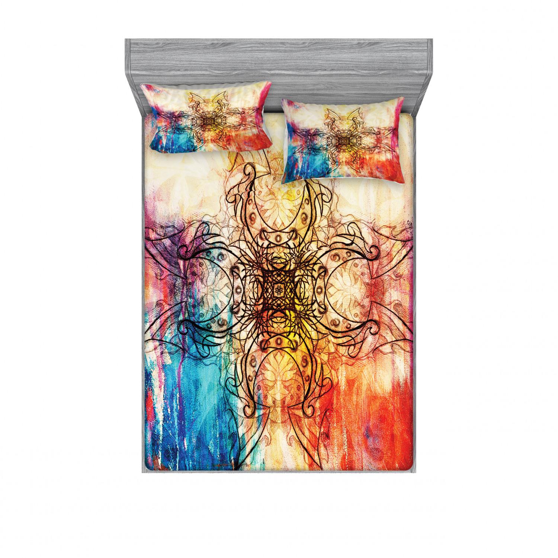 thumbnail 170 - Ambesonne-Mandala-Fitted-Sheet-Pillow-Sham-Set-Bedding-Decor-in-4-Sizes