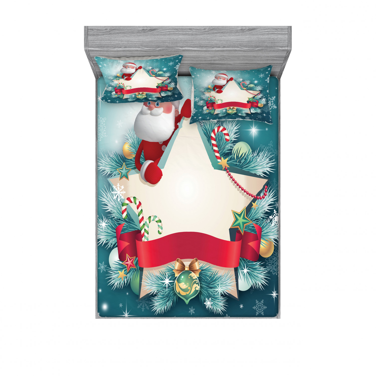 thumbnail 142 - Ambesonne Christmas Fitted Sheet Pillow Sham Set Bedding Decor in 4 Sizes