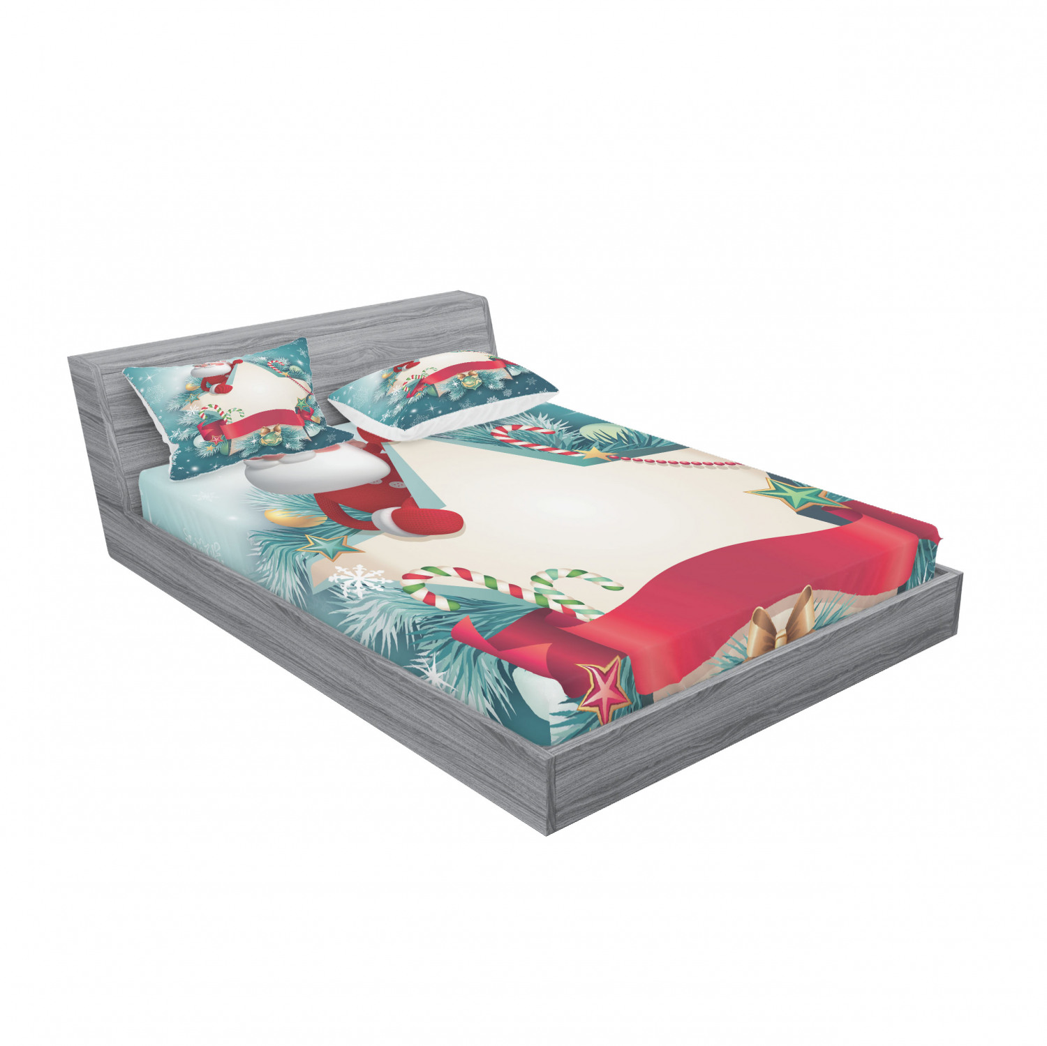 thumbnail 143 - Ambesonne Christmas Fitted Sheet Pillow Sham Set Bedding Decor in 4 Sizes