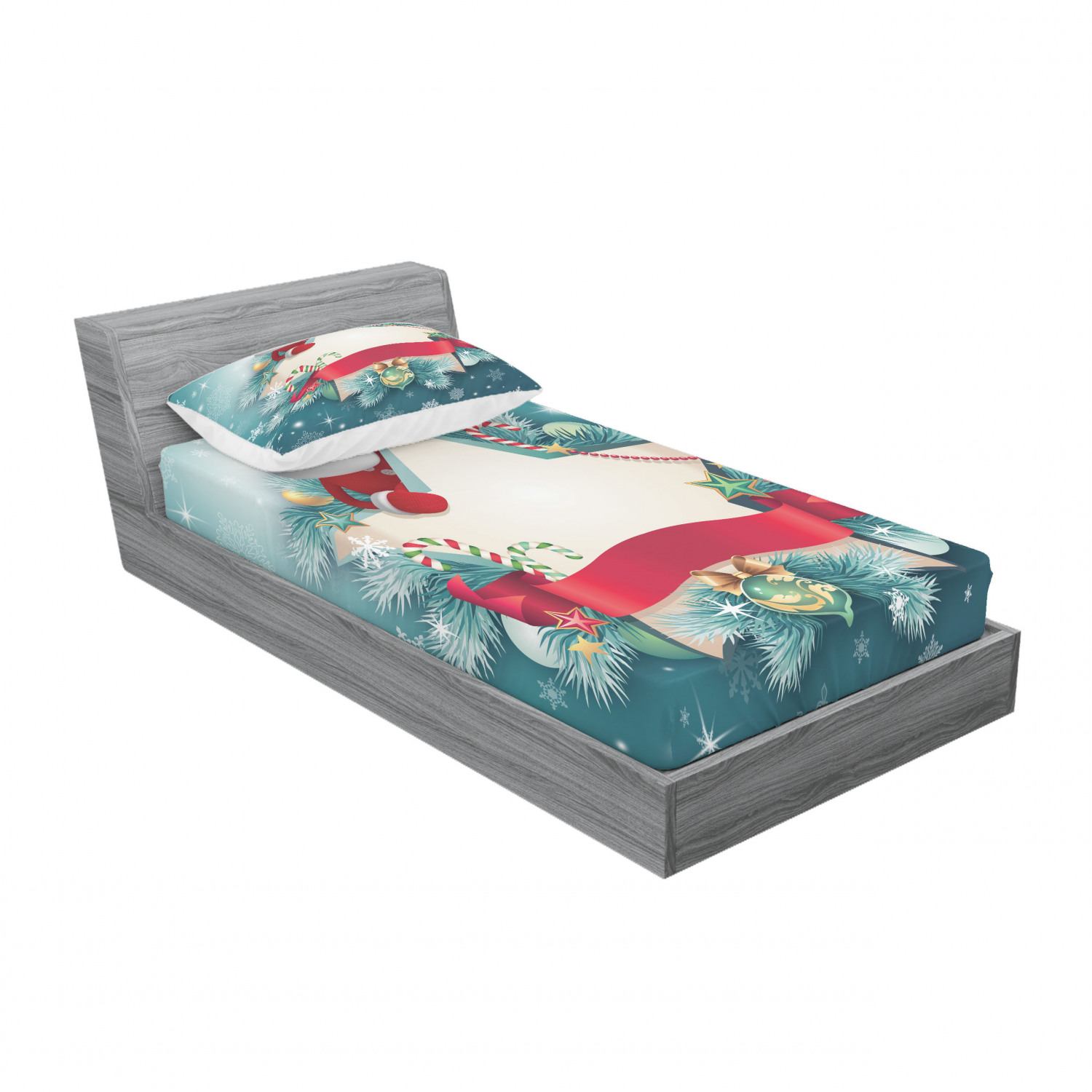thumbnail 141 - Ambesonne Christmas Fitted Sheet Pillow Sham Set Bedding Decor in 4 Sizes