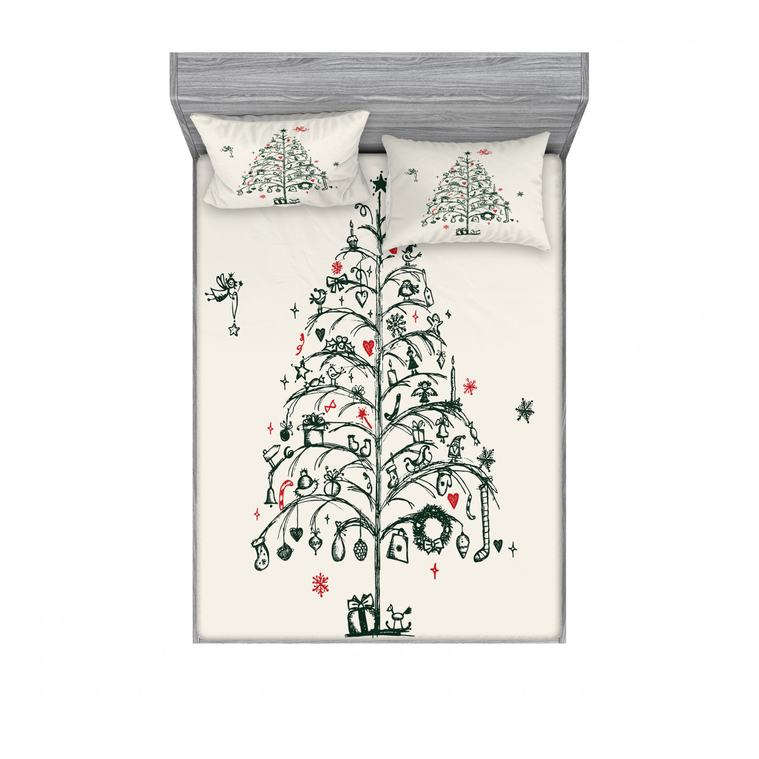 thumbnail 182 - Ambesonne Christmas Fitted Sheet Pillow Sham Set Bedding Decor in 4 Sizes