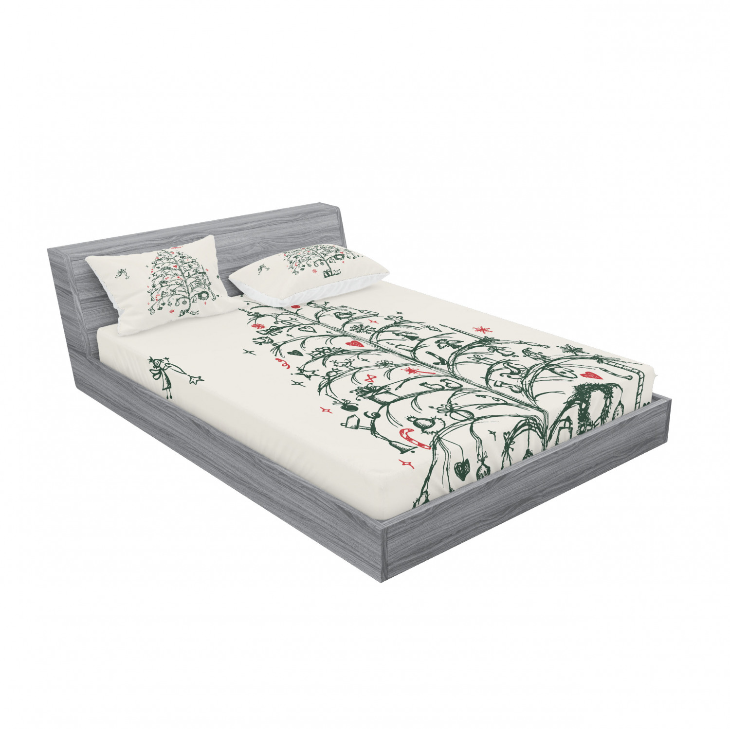 thumbnail 183 - Ambesonne Christmas Fitted Sheet Pillow Sham Set Bedding Decor in 4 Sizes