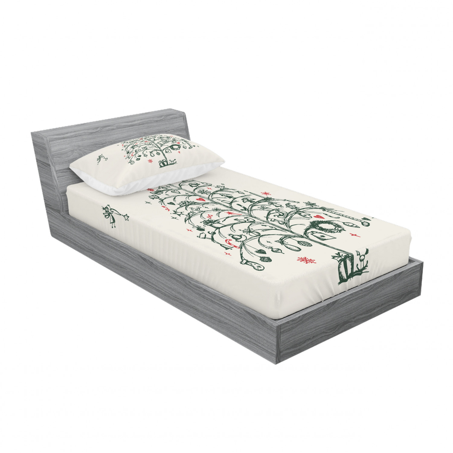 thumbnail 181 - Ambesonne Christmas Fitted Sheet Pillow Sham Set Bedding Decor in 4 Sizes