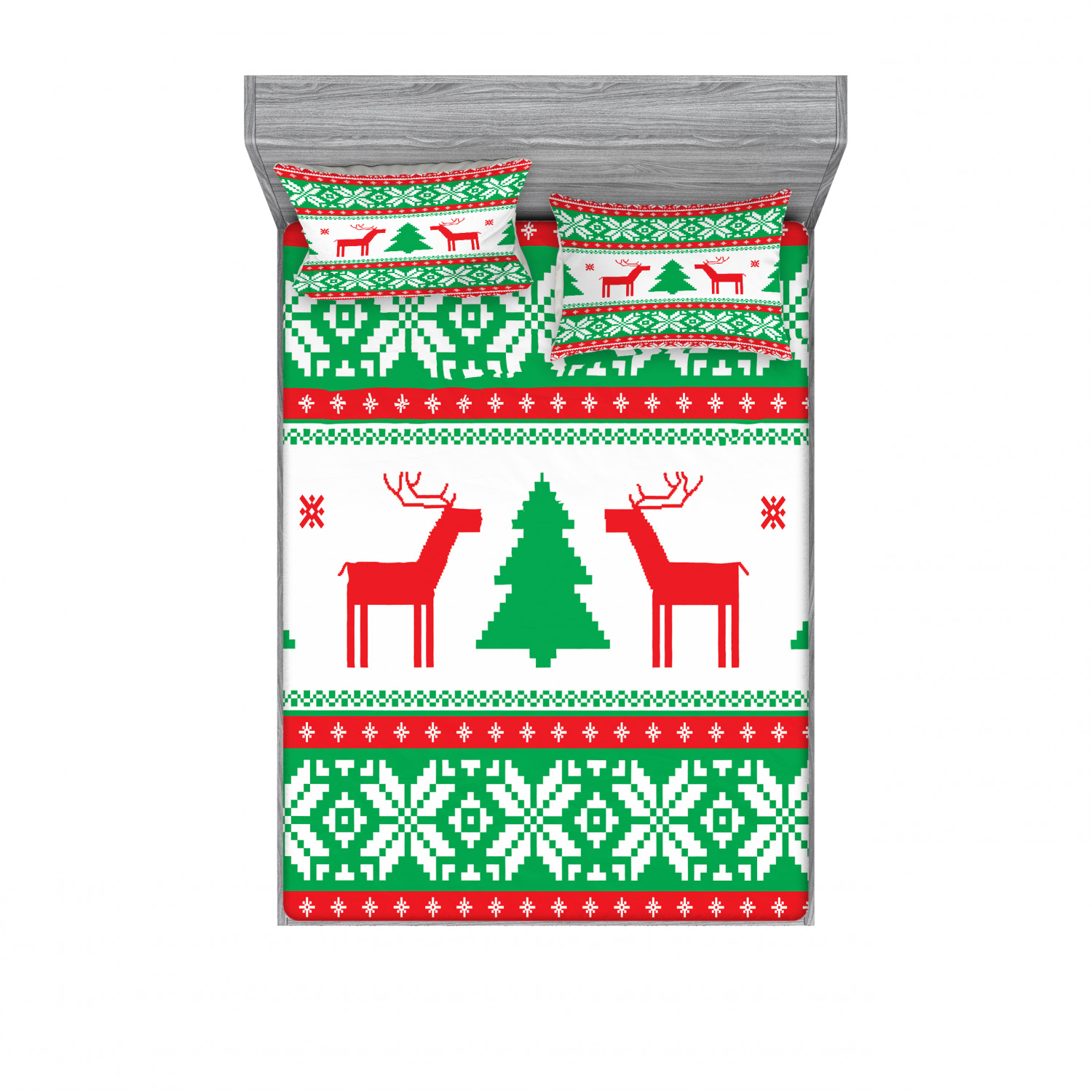 thumbnail 50 - Ambesonne Christmas Fitted Sheet Pillow Sham Set Bedding Decor in 4 Sizes