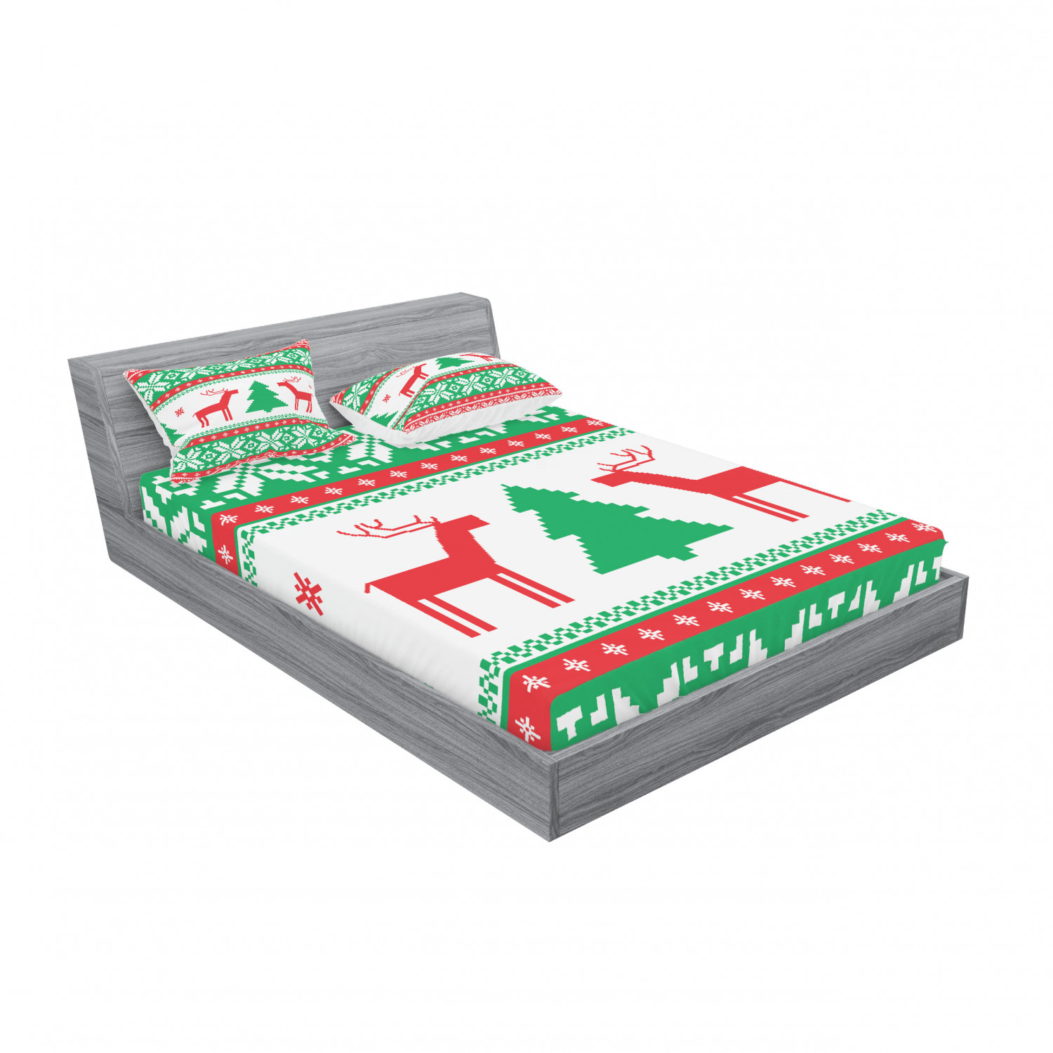 thumbnail 51 - Ambesonne Christmas Fitted Sheet Pillow Sham Set Bedding Decor in 4 Sizes