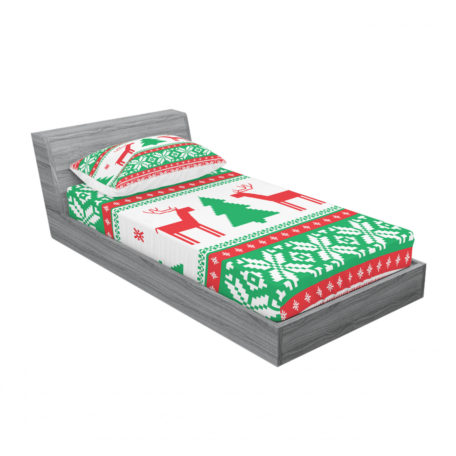 thumbnail 49 - Ambesonne Christmas Fitted Sheet Pillow Sham Set Bedding Decor in 4 Sizes