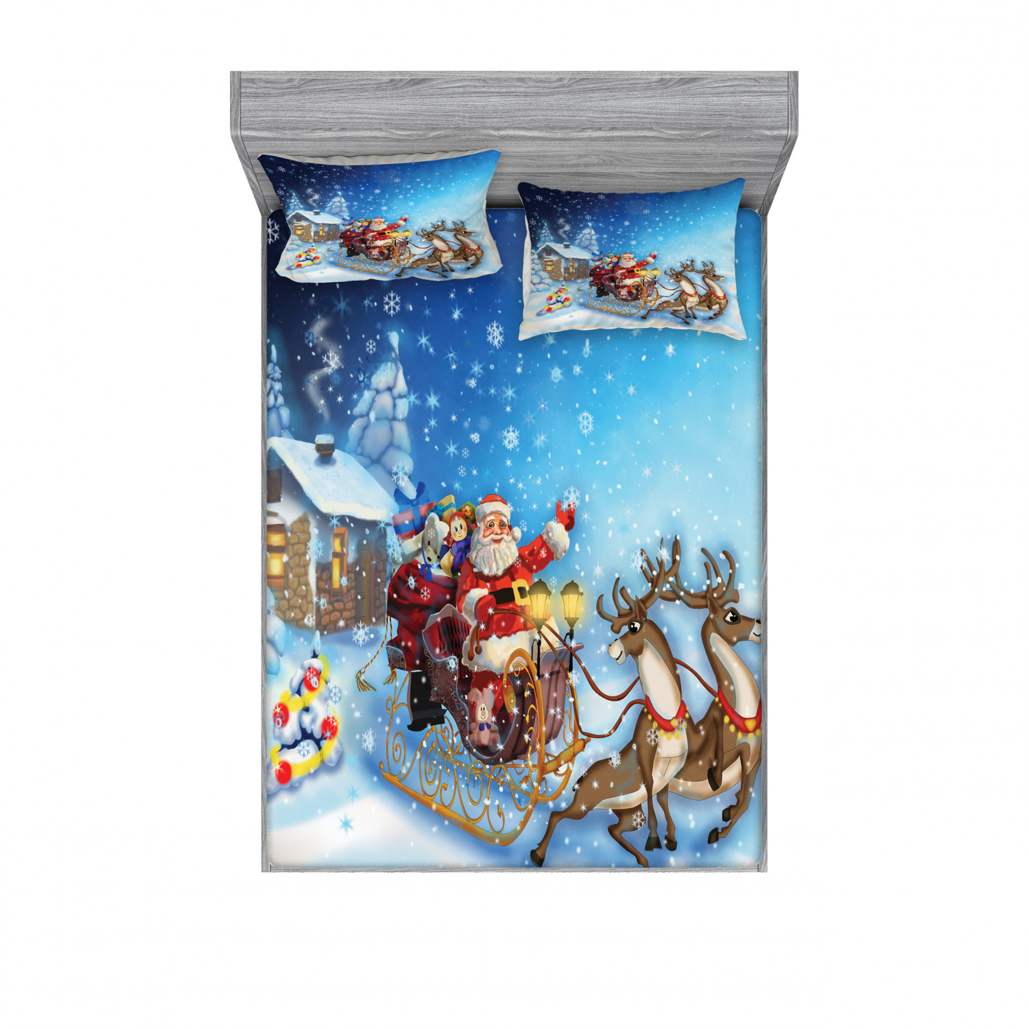thumbnail 130 - Ambesonne Christmas Fitted Sheet Pillow Sham Set Bedding Decor in 4 Sizes