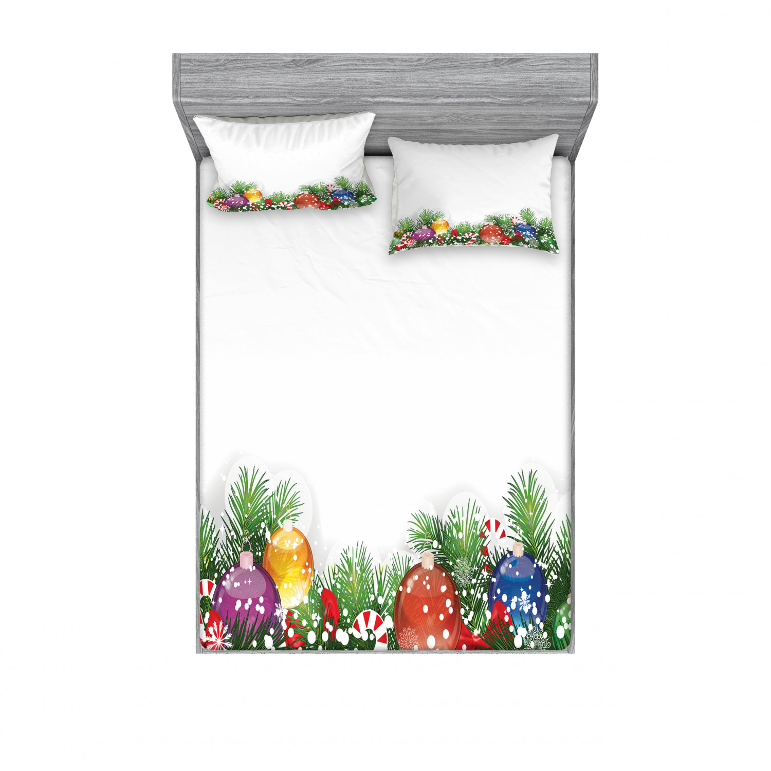 thumbnail 238 - Ambesonne Christmas Fitted Sheet Pillow Sham Set Bedding Decor in 4 Sizes