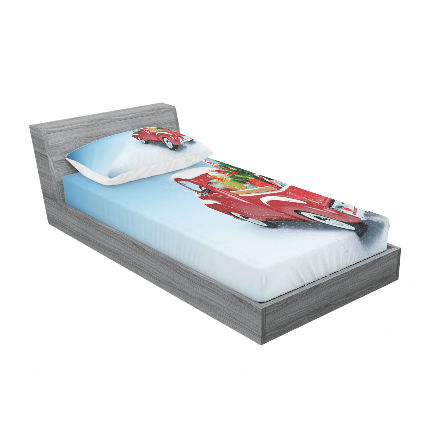 thumbnail 97 - Ambesonne Christmas Fitted Sheet Pillow Sham Set Bedding Decor in 4 Sizes