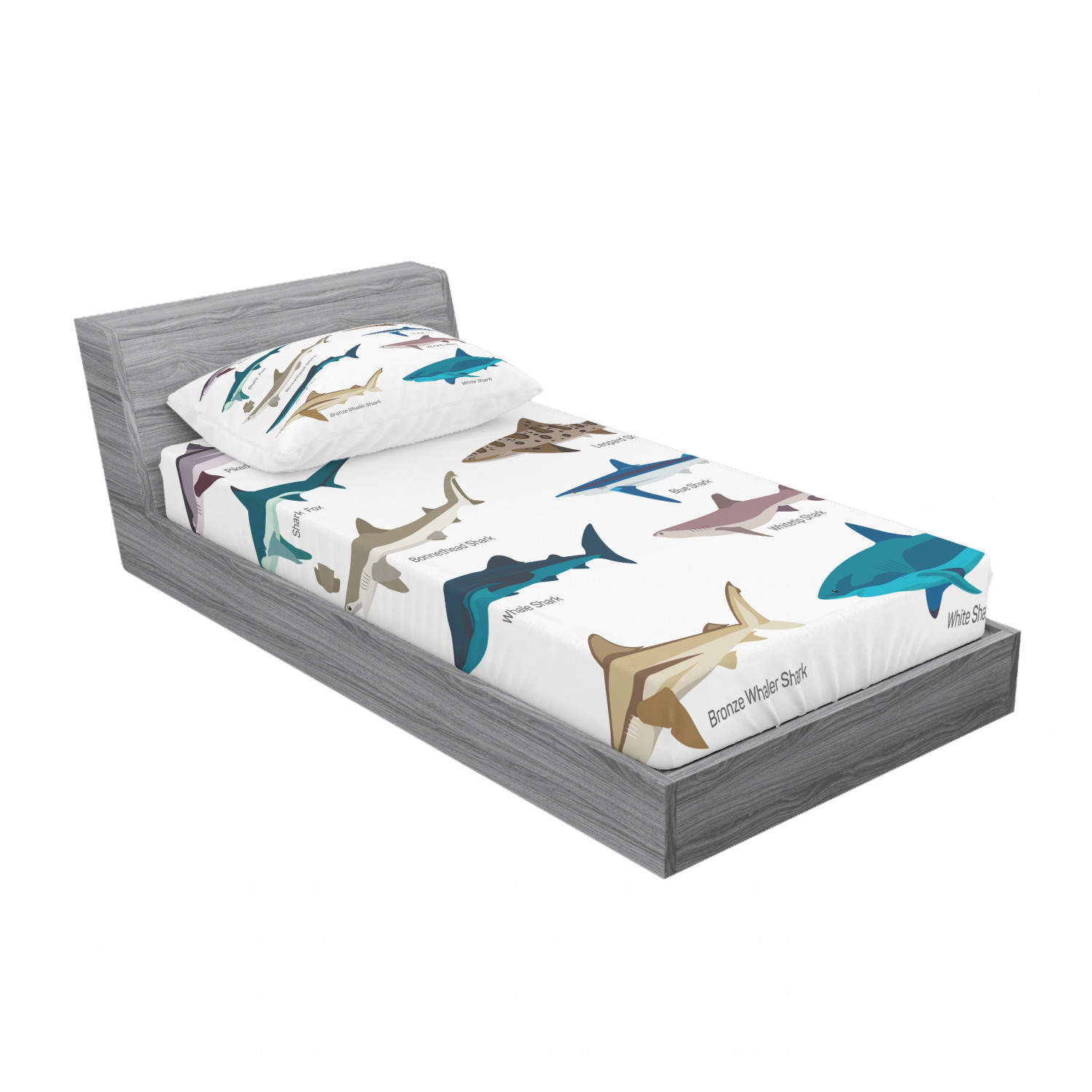 thumbnail 33 - Ambesonne Fish Fitted Sheet Pillow Sham Set Bedding Decor in 4 Sizes