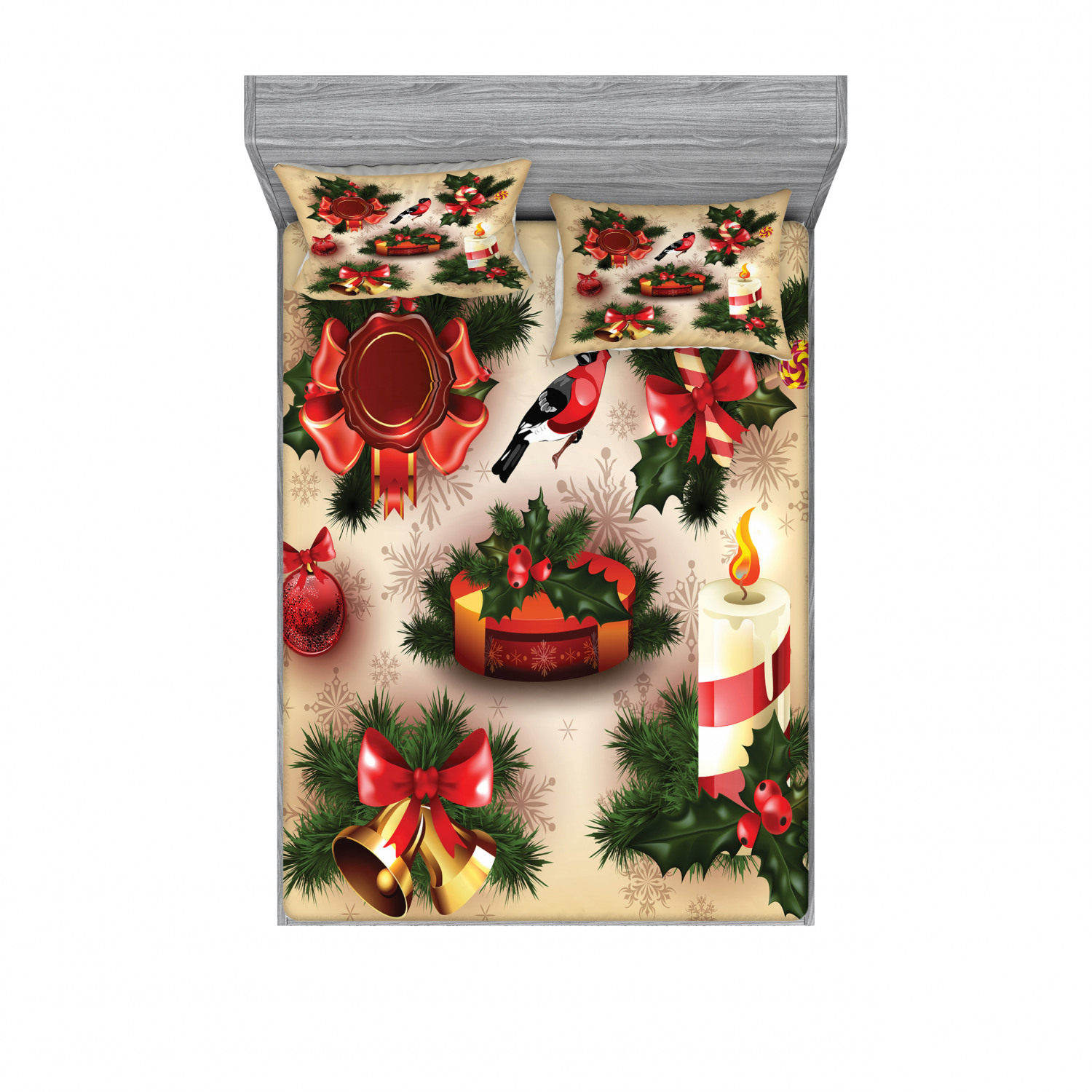 thumbnail 202 - Ambesonne Christmas Fitted Sheet Pillow Sham Set Bedding Decor in 4 Sizes