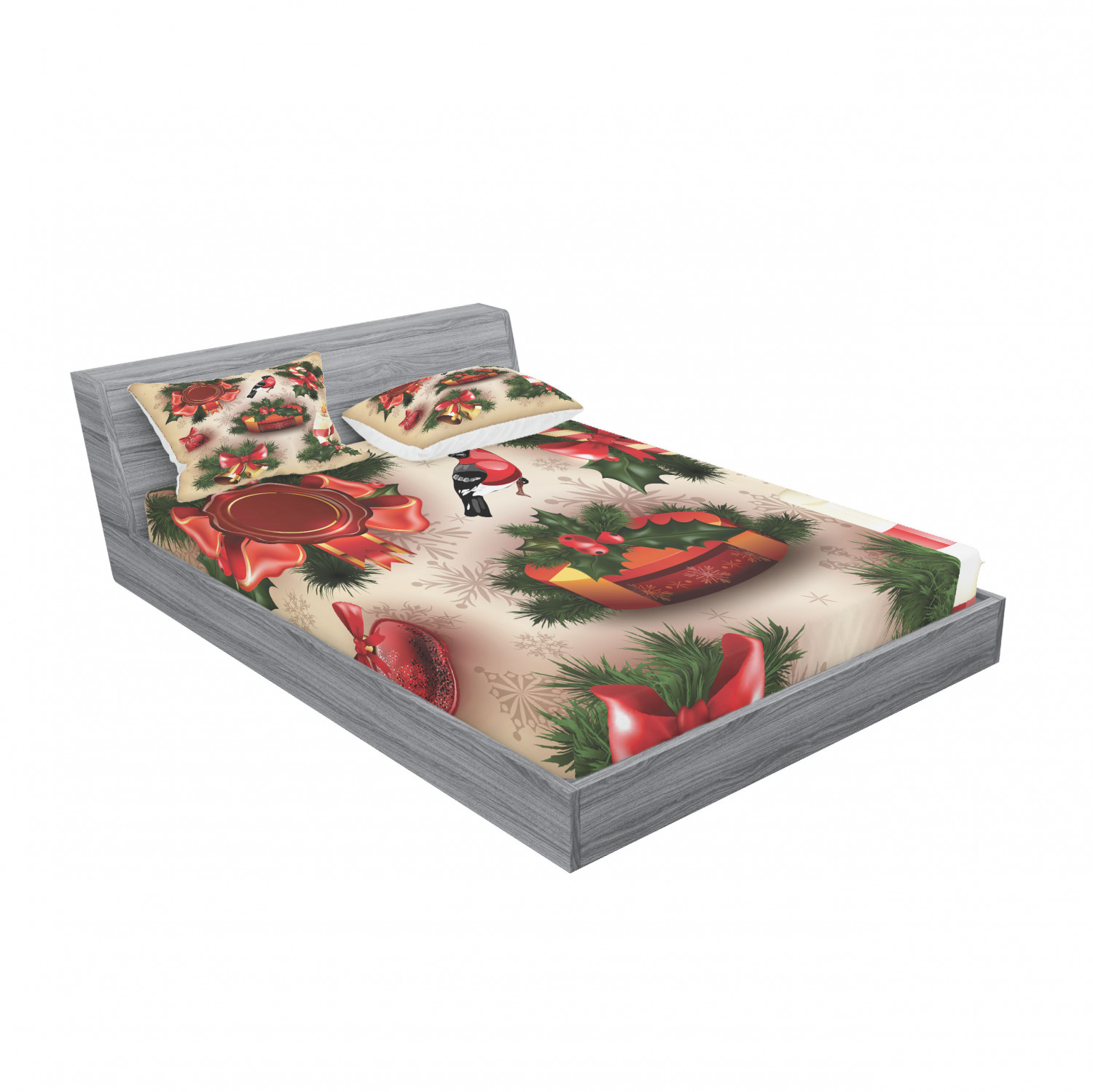thumbnail 203 - Ambesonne Christmas Fitted Sheet Pillow Sham Set Bedding Decor in 4 Sizes