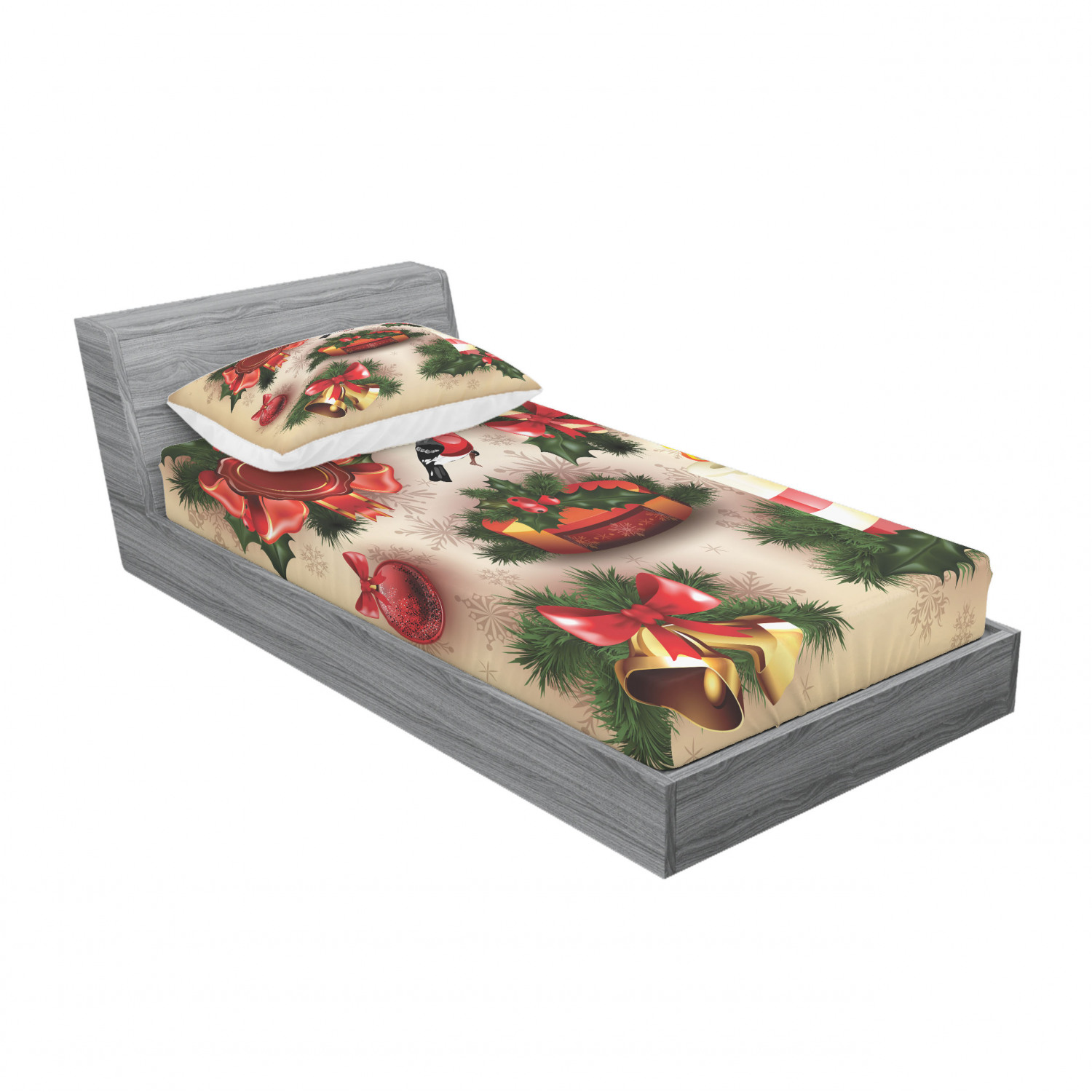 thumbnail 201 - Ambesonne Christmas Fitted Sheet Pillow Sham Set Bedding Decor in 4 Sizes