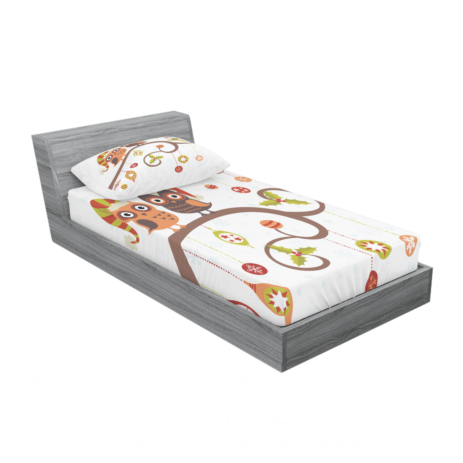 thumbnail 73 - Ambesonne Christmas Fitted Sheet Pillow Sham Set Bedding Decor in 4 Sizes