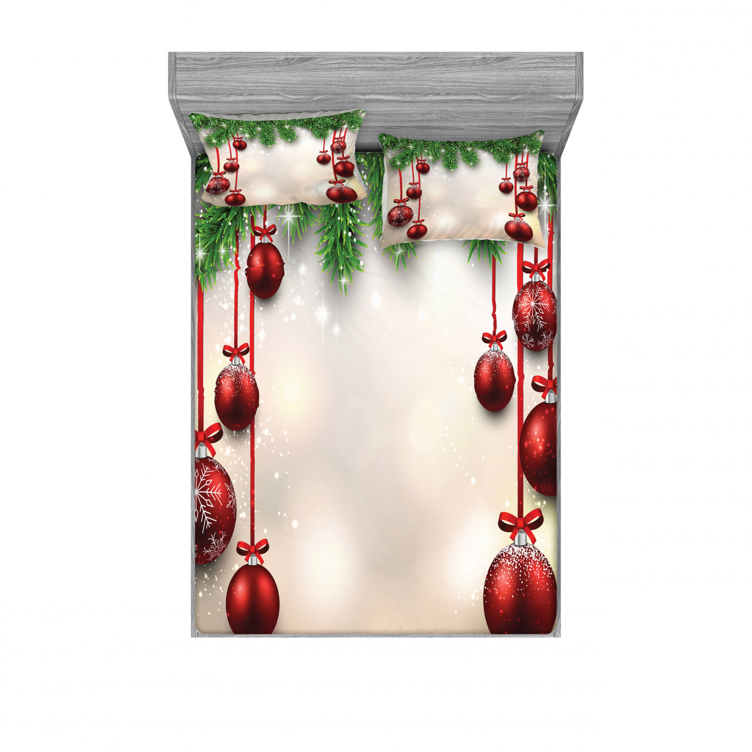 thumbnail 86 - Ambesonne Christmas Fitted Sheet Pillow Sham Set Bedding Decor in 4 Sizes