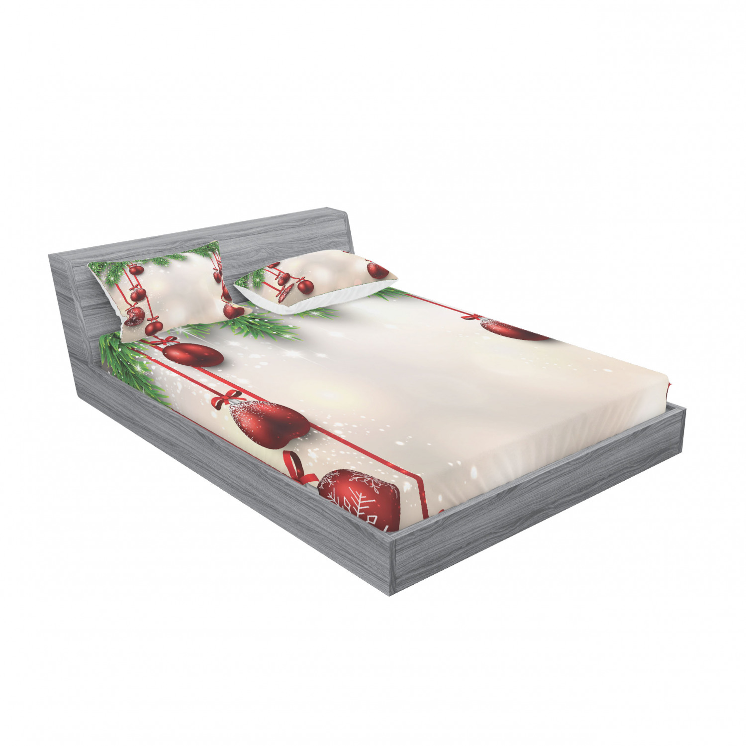 thumbnail 87 - Ambesonne Christmas Fitted Sheet Pillow Sham Set Bedding Decor in 4 Sizes