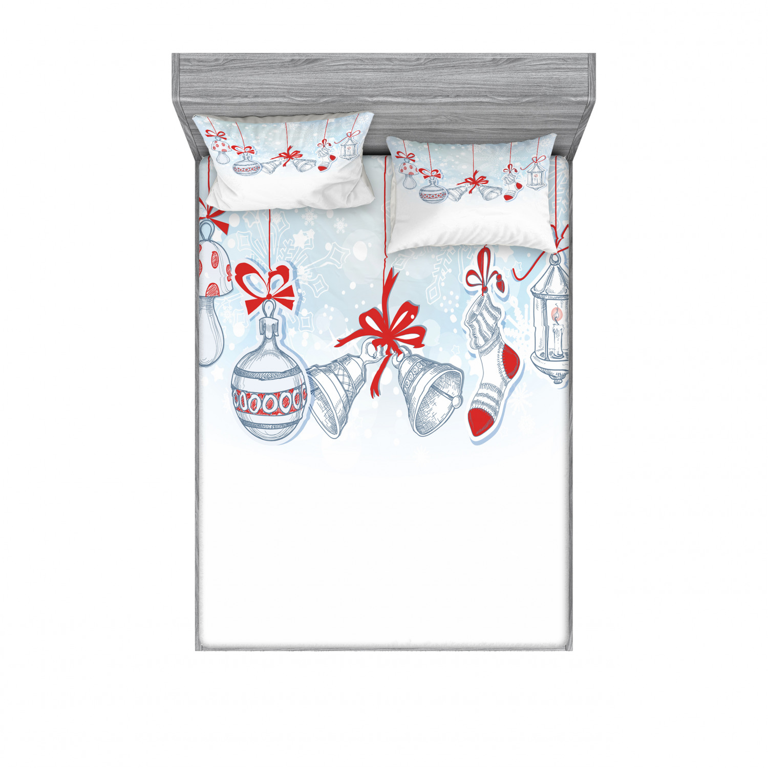 thumbnail 106 - Ambesonne Christmas Fitted Sheet Pillow Sham Set Bedding Decor in 4 Sizes