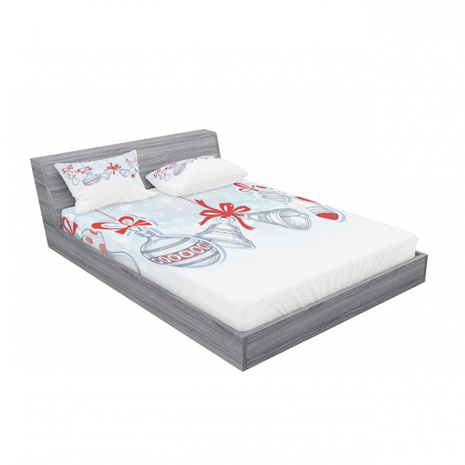 thumbnail 107 - Ambesonne Christmas Fitted Sheet Pillow Sham Set Bedding Decor in 4 Sizes