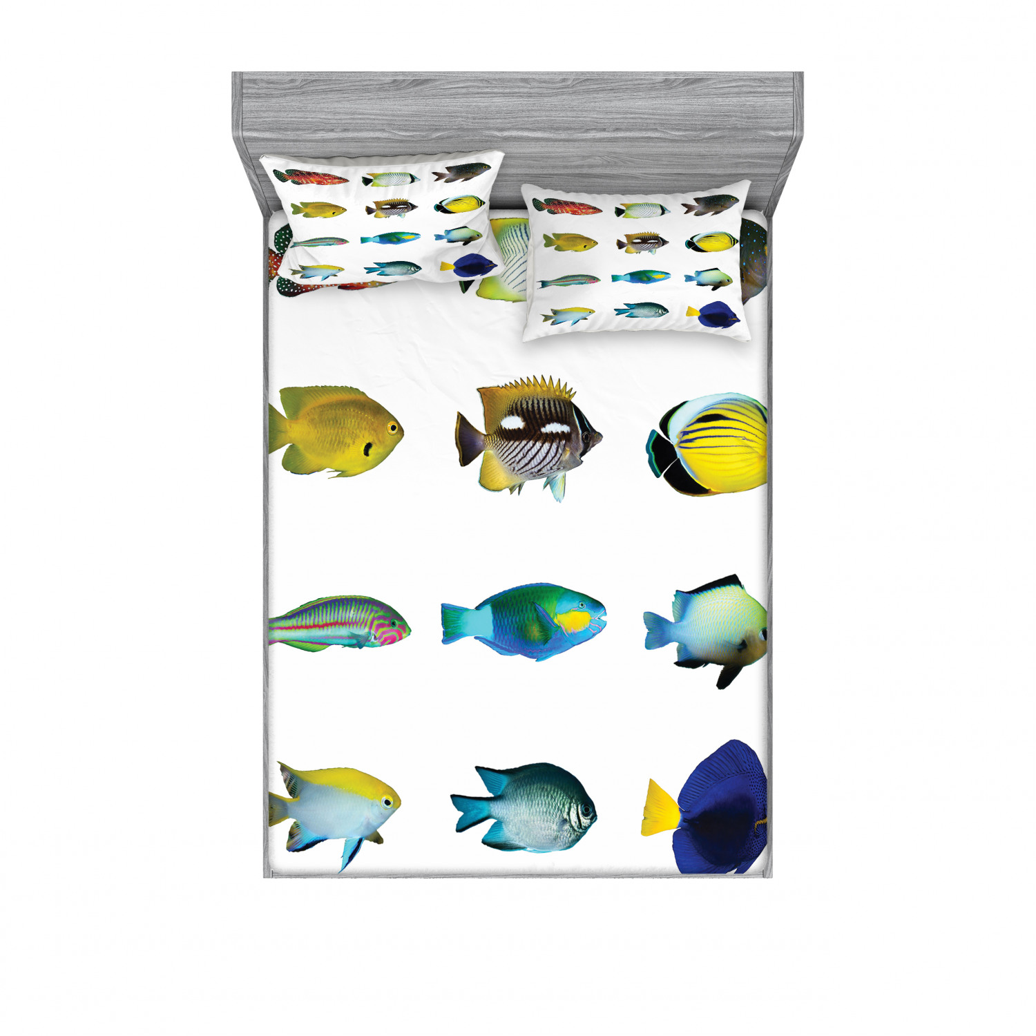 thumbnail 174 - Ambesonne Fish Fitted Sheet Pillow Sham Set Bedding Decor in 4 Sizes