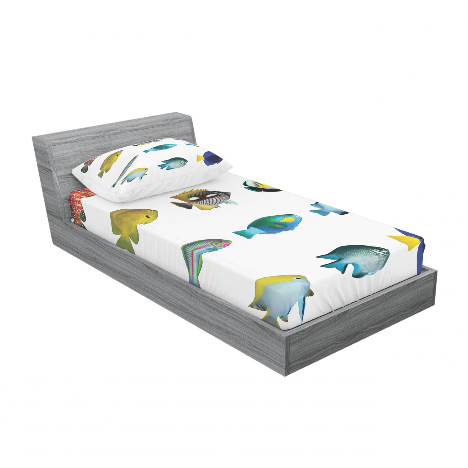 thumbnail 173 - Ambesonne Fish Fitted Sheet Pillow Sham Set Bedding Decor in 4 Sizes