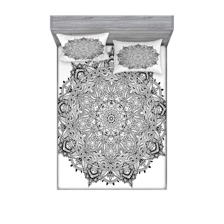 thumbnail 114 - Ambesonne-Mandala-Fitted-Sheet-Pillow-Sham-Set-Bedding-Decor-in-4-Sizes