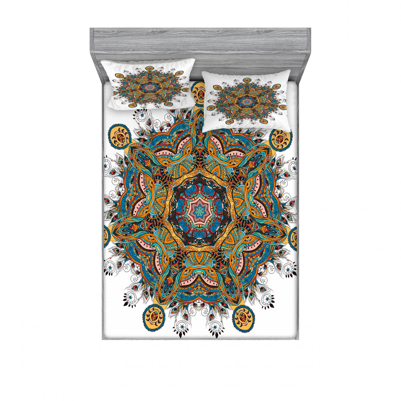 thumbnail 210 - Ambesonne-Mandala-Fitted-Sheet-Pillow-Sham-Set-Bedding-Decor-in-4-Sizes