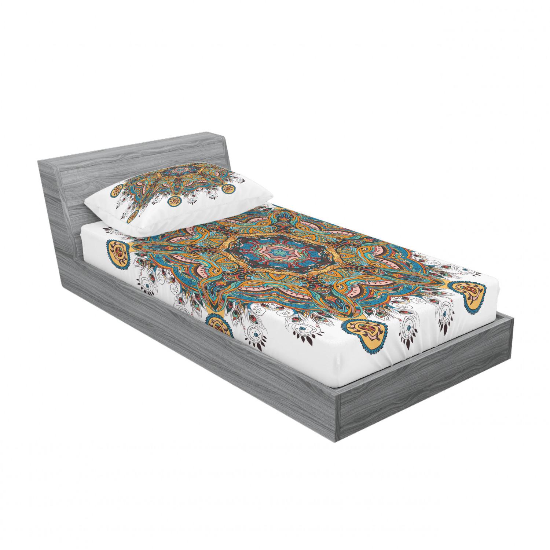 thumbnail 209 - Ambesonne-Mandala-Fitted-Sheet-Pillow-Sham-Set-Bedding-Decor-in-4-Sizes