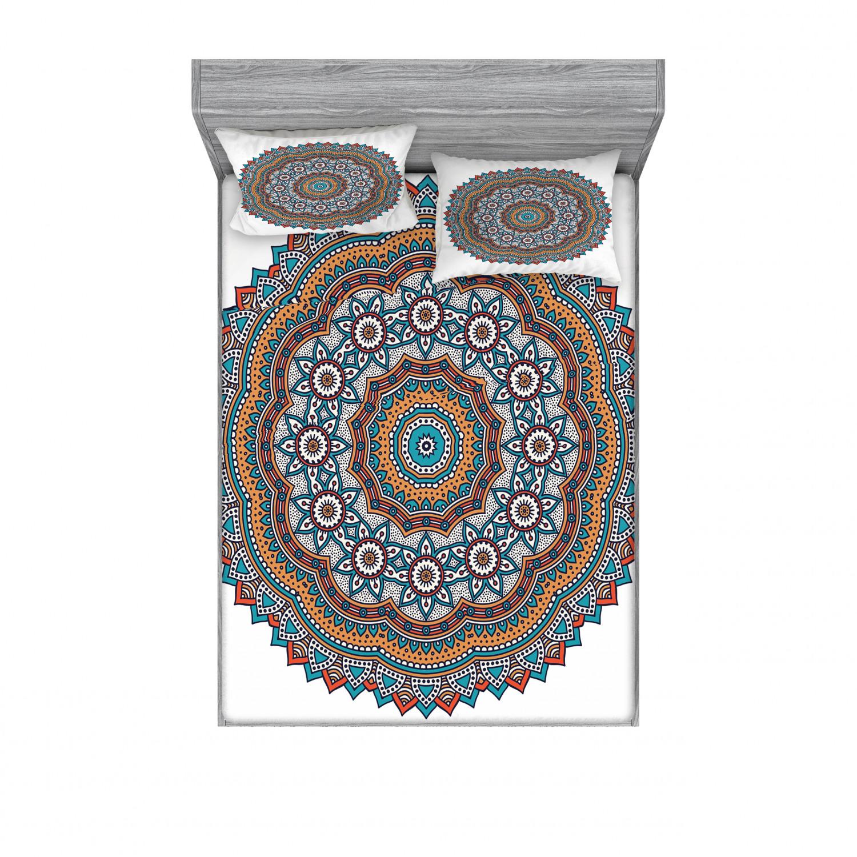 thumbnail 226 - Ambesonne-Mandala-Fitted-Sheet-Pillow-Sham-Set-Bedding-Decor-in-4-Sizes