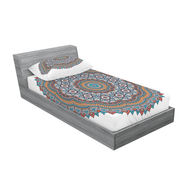 thumbnail 225 - Ambesonne-Mandala-Fitted-Sheet-Pillow-Sham-Set-Bedding-Decor-in-4-Sizes