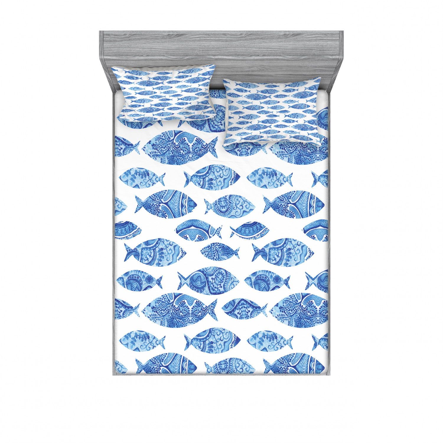 thumbnail 230 - Ambesonne Fish Fitted Sheet Pillow Sham Set Bedding Decor in 4 Sizes