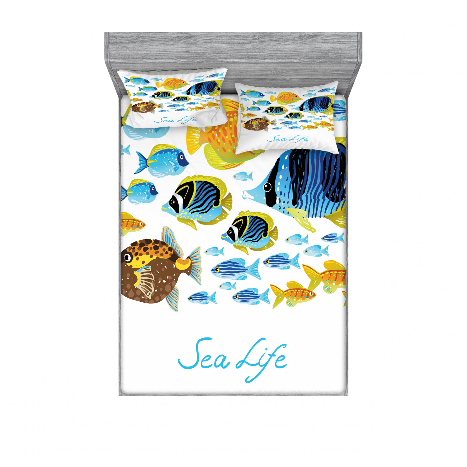 thumbnail 30 - Ambesonne Fish Fitted Sheet Pillow Sham Set Bedding Decor in 4 Sizes