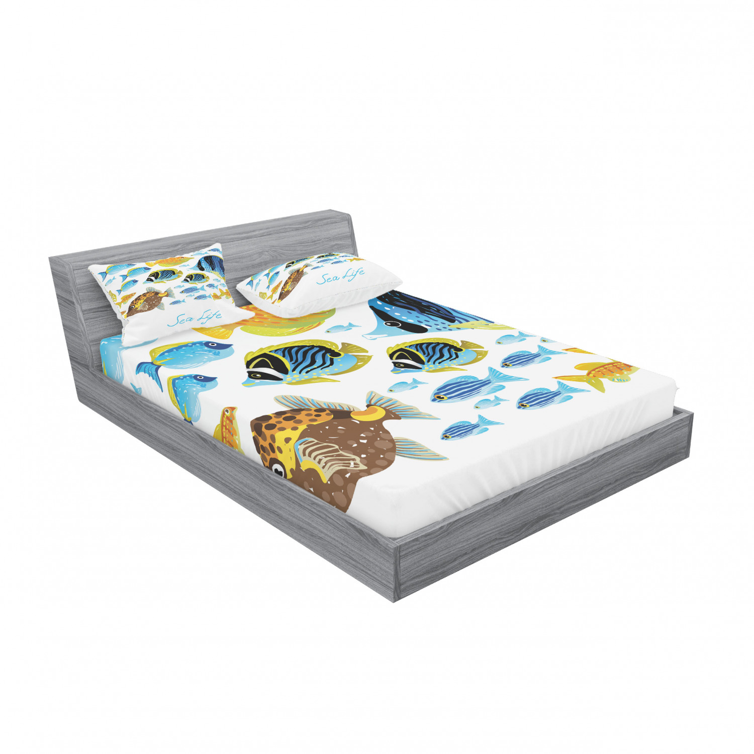 thumbnail 31 - Ambesonne Fish Fitted Sheet Pillow Sham Set Bedding Decor in 4 Sizes