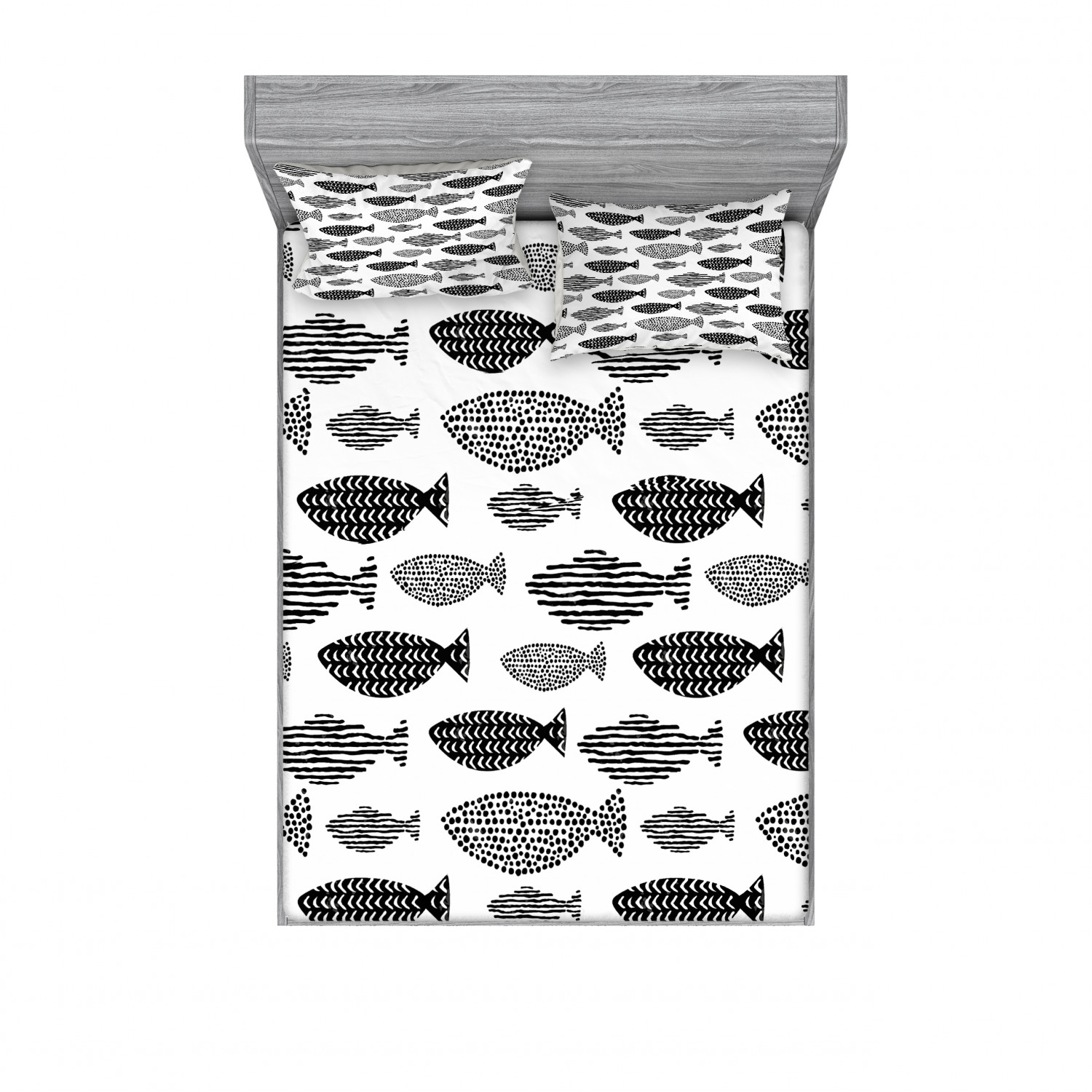 thumbnail 162 - Ambesonne Fish Fitted Sheet Pillow Sham Set Bedding Decor in 4 Sizes